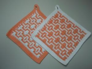 Topflappen Baumwolle aprikot/ weiß gehäkelt 2 Stück  - Handarbeit kaufen