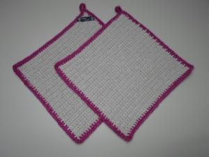 Topflappen Baumwolle beige gehäkelt 2 Stück  - Handarbeit kaufen