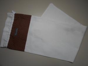 Baguettebeutel *Puntini marrone* Baumwolle weiß von friess-design mit Kordel  - Handarbeit kaufen