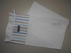 Baguettebeutel *Striscio blu* Baumwolle weiß von friess-design mit Kordel