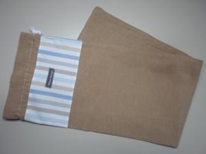 Baguettebeutel *Striscio blu* Baumwolle beige von friess-design mit Kordel