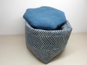 Eierkörbchen/ Eierwärmer *Mare* Baumwolle blau mit Deckel nach Wahl von friess-design  - Handarbeit kaufen