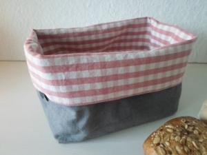 Stoffkorb *Quadro rosa* Leinen von friess-design   - Handarbeit kaufen