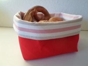 Stoffkorb/ Brotkorb *Alto Adige* rot/ rosa-weiß gestreift Baumwolle (sehr fest) von friess-design - Handarbeit kaufen