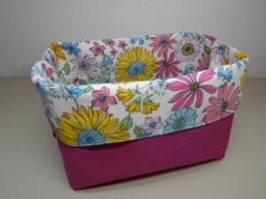 Stoffkorb/ Brotkorb *Rimini* Baumwolle pink/ bunt von friess-design  - Handarbeit kaufen