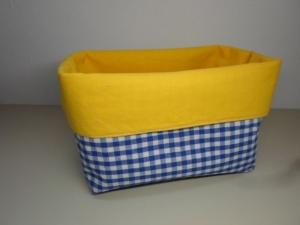 Stoffkorb/ Brotkorb *Svezia* Baumwolle gelb/ blau von friess-design - Handarbeit kaufen