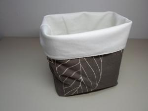 Stoffkorb *Trento* Baumwolle braun/ weiß von friess-design   - Handarbeit kaufen