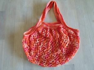 Einkaufsnetz Baumwolle rot-orange gehäkelt - Handarbeit kaufen
