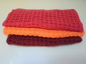 gestrickte Spüllappen aus Baumwolle im 3er-Set *rot orange* von friess-design  - Handarbeit kaufen