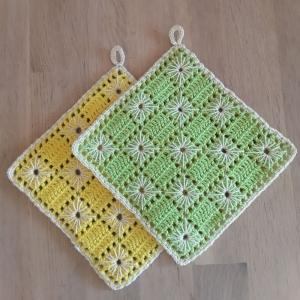 Topflappen Baumwolle hellgrün/ gelb gehäkelt 2 Stück