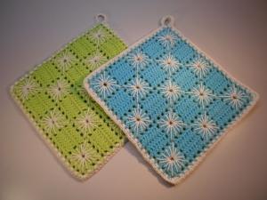 Topflappen Baumwolle hellgrün/ türkis gehäkelt 2 Stück - Handarbeit kaufen