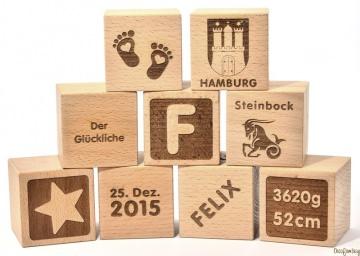 ★ Holzwürfel mit Gravur - Geschenk zur Geburt ★