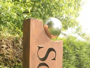 Gartendeko Große Rostsäule  Namenssäule - ☀ Schlössle  - Höhe 195 cm
