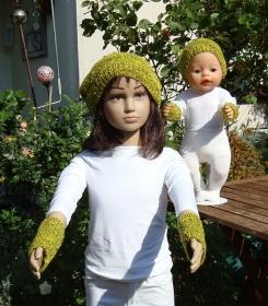 handgestrickte Beanie und Pulswärmer für Kind und Puppe - Handarbeit kaufen