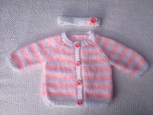handgestricktes rosa-weiß gestreiftes Baby-Jäckchen mit Stirnband, Gr. 62 - Handarbeit kaufen