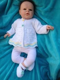 handgestricktes Baby-Baumwoll-Jäckchen und Schühchen, Gr. 56/62