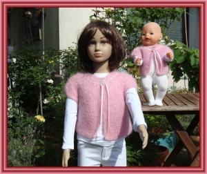 Edles Strickjäckchen für Kind (Gr.104) und Puppe (Gr. 43 cm) - Handarbeit kaufen