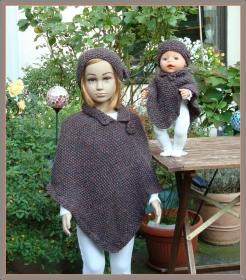 warmer handgestrickter Poncho mit Stirnband für Kind (Gr. 104/110) und Puppe (Gr. 43) mit Alpaka - Handarbeit kaufen