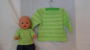 gestrickter apfelgrüner Sommer-Kurzpullover, für Puppe und Kind Gr. 98/104 - Handarbeit kaufen