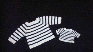 gestrickter, maritimer Pullover für Kind und Puppe, Gr. 98/104 + 43 - Handarbeit kaufen