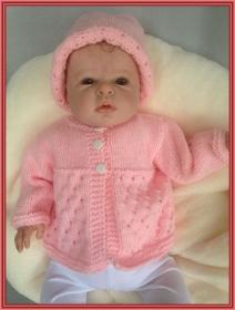 handgestricktes, rosa Babyjäckchen und passende Mütze, Gr. 62 - Handarbeit kaufen
