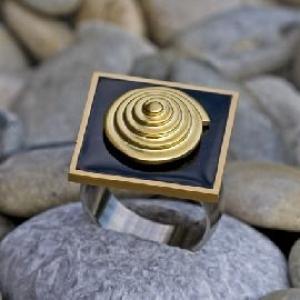 Ring - Emaille und Edelstahl - Handarbeit kaufen