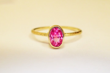 ring in 585 GOLD pink SPINELL verlobungsring in handarbeit