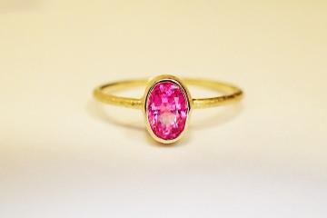 ring in 585 GOLD pink SPINELL verlobungsring in handarbeit