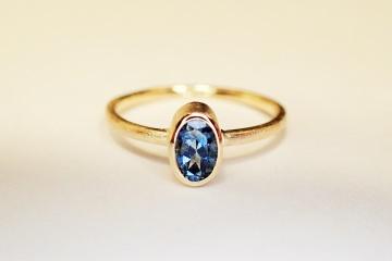 ring in 585 GOLD AQUAMARIN verlobungsring in handarbeit