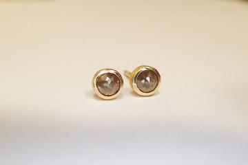 Ohrstecker 585 Gold 14 Karat Diamant rosenschliff grau