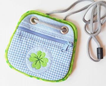 Brustbeutel Kleeblatt ♥ praktische Geldbörse/Minitäschchen für Kinder