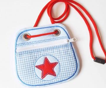 Brustbeutel Stern.blaurot ♥ praktische Geldbörse/Minitäschchen für Kinder