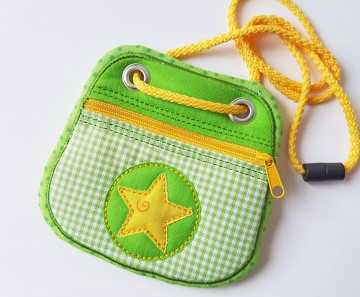 Brustbeutel Stern.grüngelb ♥ praktische Geldbörse/Minitäschchen für Kinder