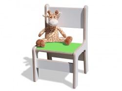 Kinderstuhl - stabil - weiß, mit grüner Sitzfläche