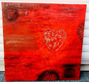 Acrylbild LIEBESBRIEFE Geschenk Valentinstag Muttertag  Malerei Kunst Unikat Keilrahmen Herzbild