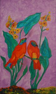 Acrylbild FRÜHLINGSBOTEN Gemälde Wandbild Keilrahmen Leinwand Malerei Vögel - Handarbeit kaufen