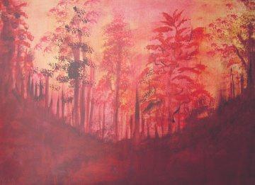 Acrylbild Zauberwald Acrylmalerei Gemälde Wanddeko abstrakte Kunst  Malerei