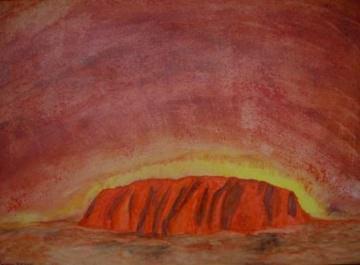 Acrylbild Uluru Acrylmalerei Gemälde australische Landschaft Malerei Leinwand