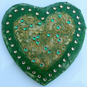 Herz HERZBILD IN GRÜN Valentinstag Geschenk Muttertag Acrylbild Collage Bild auf Keilrahmen  - Handarbeit kaufen