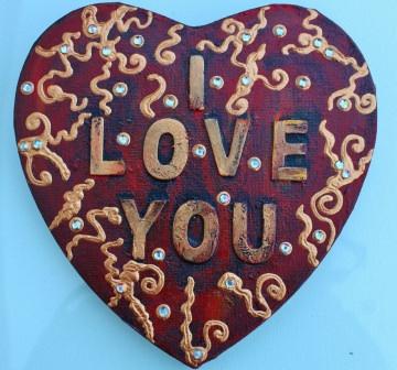 Herz Herzbild I LOVE YOU Valentinstag Geschenk Muttertag Acrylbild Collage Bild auf Keilrahmen  I LOVE YOU - Handarbeit kaufen