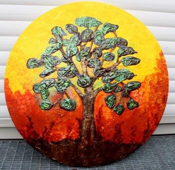 Acrylbild Feigenbaum Gemälde Malerei rundes Gemälde Geschenk Bild abstrakte Kunst abstrakter Baum