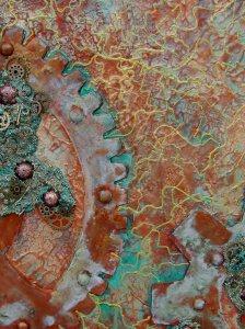 Acrylbild  Crazy Cogwheels Collage Acrylmalerei Gemälde abstrakte Kunst Leinwand  Malerei Steampunk Vintage Shabby