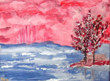 Acrylbild DER TAG AM SEE Acrylmalerei Gemälde Landschaftsbild Malerei Bild Baum See abstrakte Landschaft