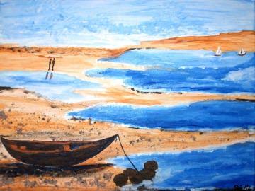 Acrylbild EBBE Acrylmalerei Gemälde Landschaftsbild Malerei Bild Meer Strand