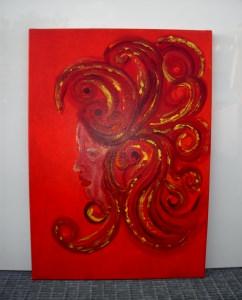 Acrylbild RED DIVA Acrylmalerei Gemälde abstrakte Kunst Wanddekoration Gesicht Frau Dame