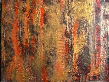 Acrylbild LAVA UND GOLD Acrylmalerei Gemälde abstrakte Kunst Wanddekoration goldenes Bild - Handarbeit kaufen