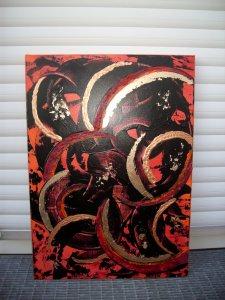 Acrylbild GOLDFEUER Acrylmalerei Gemälde abstrakte Kunst Wanddekoration goldenes Bild rotes Bild - Handarbeit kaufen