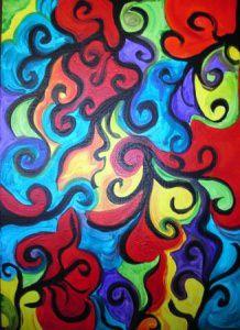 Acrylbild FARBENSPIEL Acrylmalerei Gemälde abstrakte Kunst Wanddekoration buntes Bild