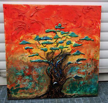 Acrylbild Regenbogenbaum Acrylmalerei Baum Bonsai Bäumchen Landschaftsmalerei Gemälde  - Handarbeit kaufen