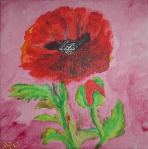 Acrylbild MOHNBLUME Acrylmalerei Gemälde abstrakte Kunst Wanddekoration Blütenbild Blumenbild - Handarbeit kaufen